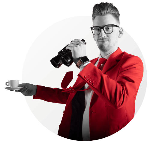 Bart Moree of NOBLY talks while holding coffee cup and binoculars