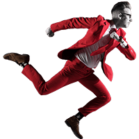 Wat doet NOBLY? Rennen, deze foto laat zien hoe bart rent in een NOBLY-rood pak in de fase doen en gaan