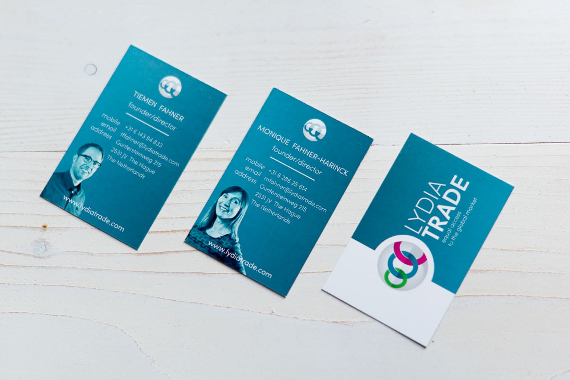 Business cards van Lydia Trade ontworpen door NOBLY Authentieke Communicatie & Creatie