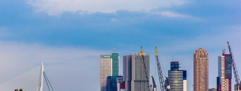 De skyline van Rotterdam met links de Erasumusbrug en rechts een aantal hoge gebouwen